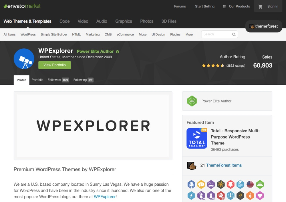 WPExplorer Themeforest-Profil