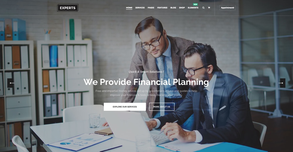 Finanční experti Business & Consulting WordPress Téma