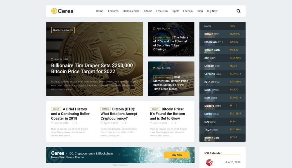 Ceres Cryptocurrency & Blockchain News Blog WordPress Téma
