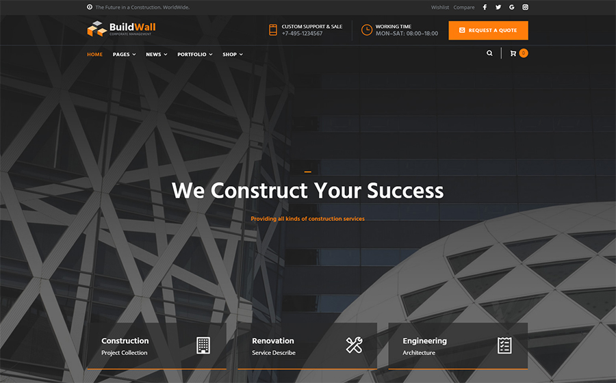 BuildWall Construction Company Mehrzweck-WordPress-Theme
