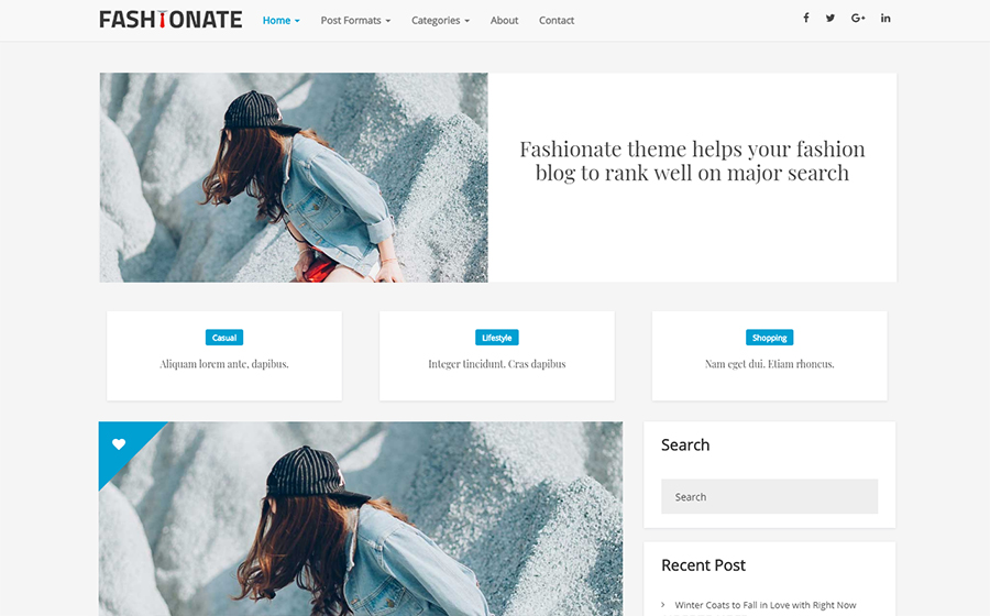 Fashionate Blogging Kostenloses WordPress-Theme