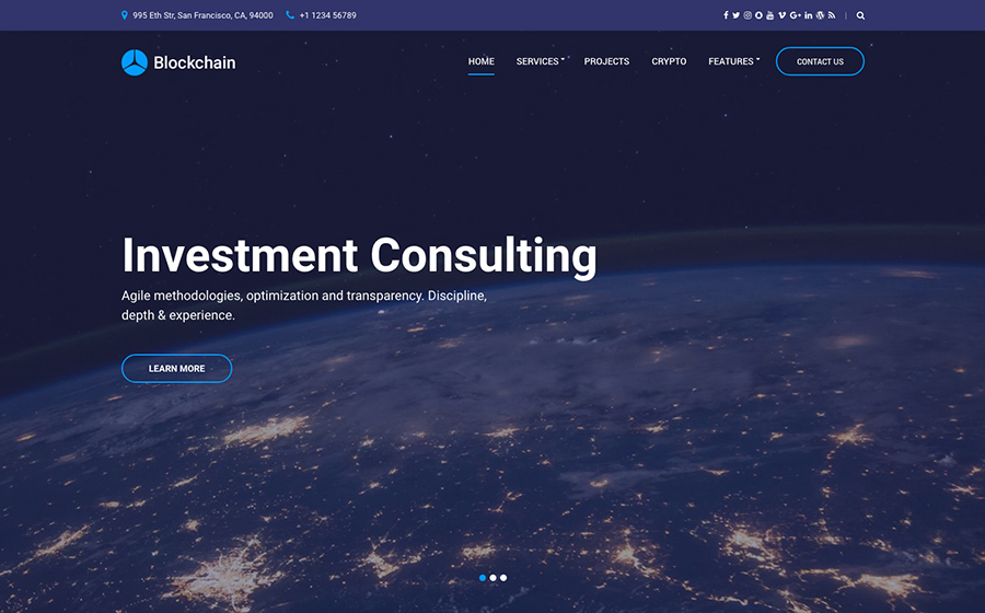 Blockchain Cryptocurrency & Consulting WordPress Theme