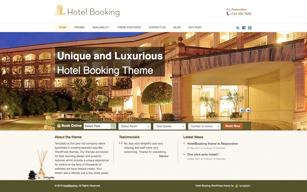 HotelBooking App WordPress Тема