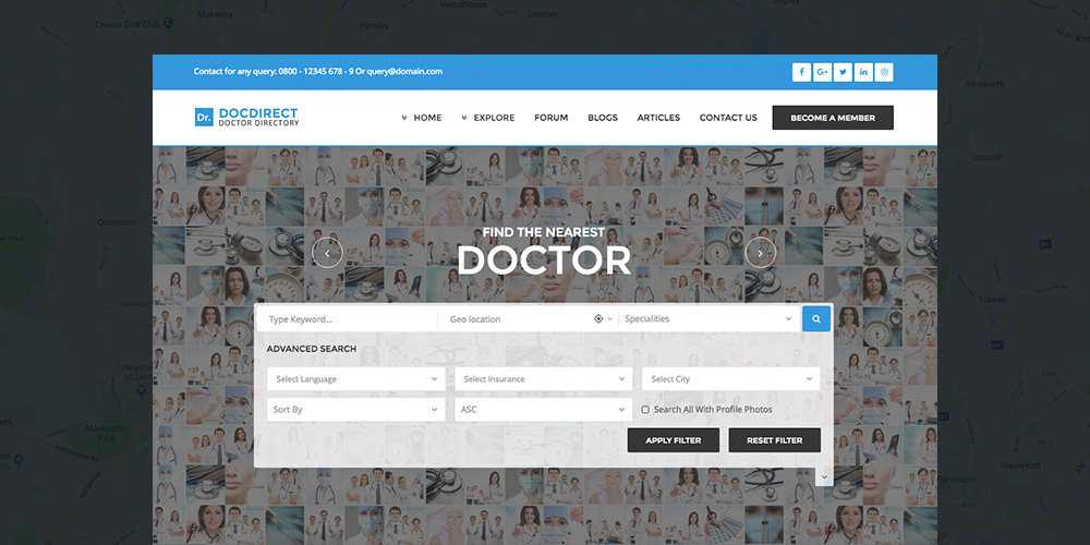 Téma DocDirect Healthcare Directory WordPress