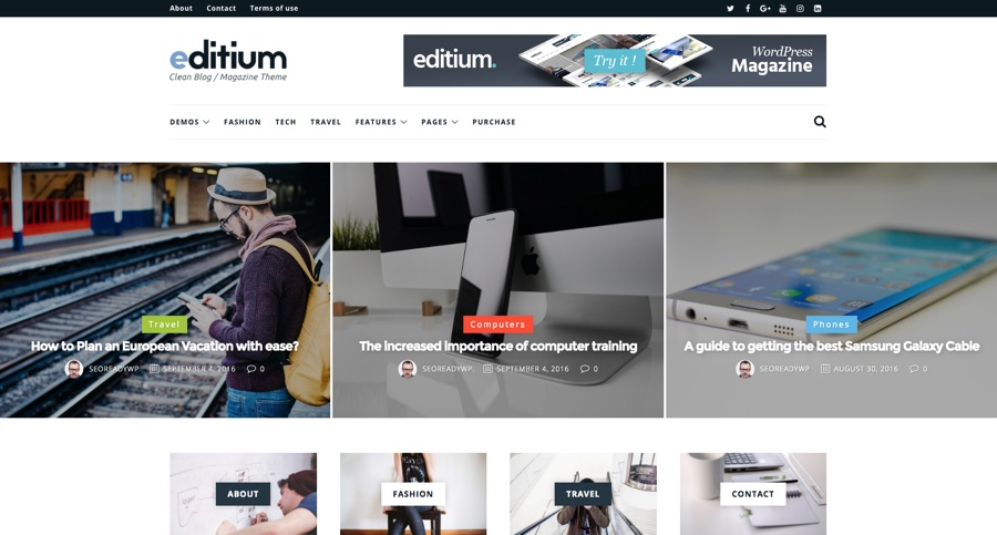 Editium Clean WordPress Blog杂志主题
