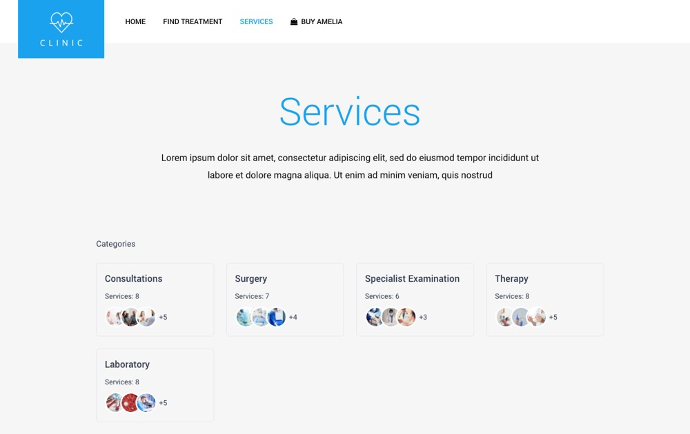 Amelia Booking Plugin Review: Catàleg de serveis i categories