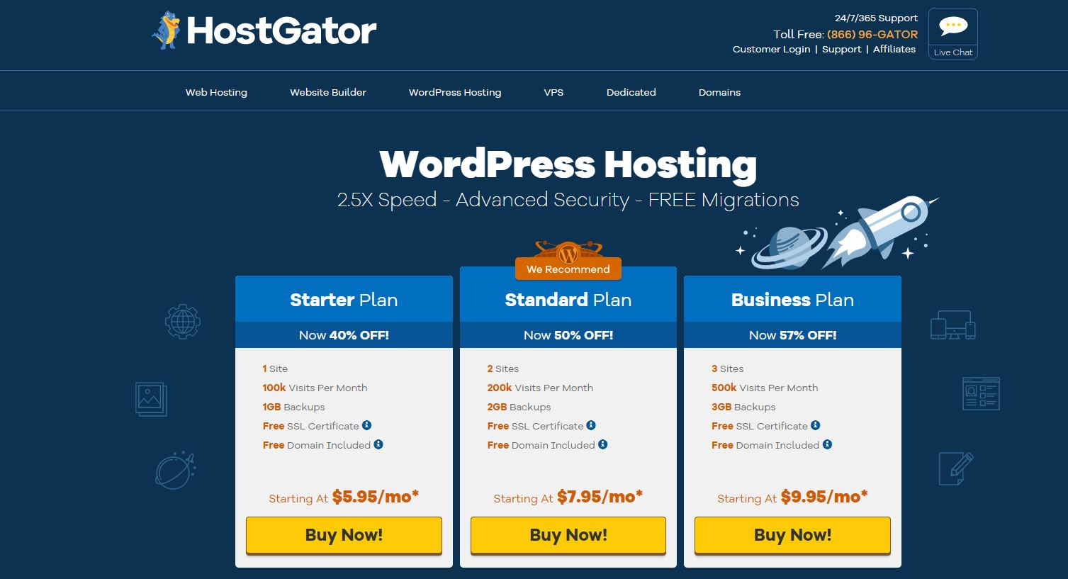 HostGator Ylläpito WordPress-hosting