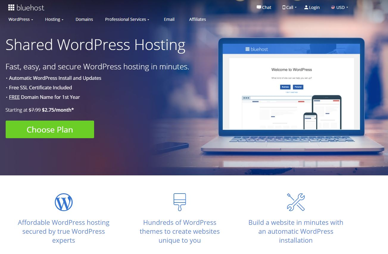 Bluehost WordPress -majoitus