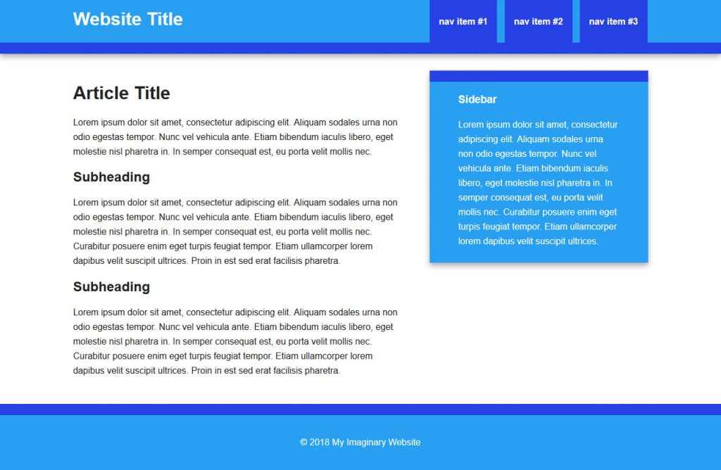 page d'exemple html vers wordpress