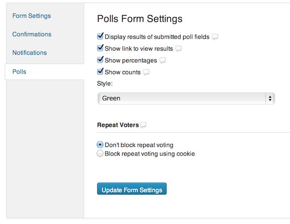 Gravity Forms: Poll Settings