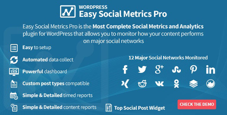 Einfaches Social Metrics Pro WordPress Plugin