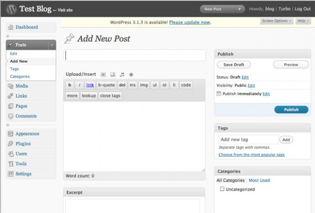 WordPress 2.7 Post Editor