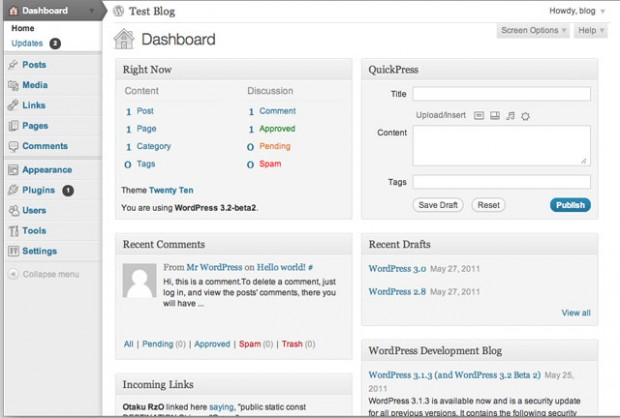 WordPress 3.2-Beta-2 Dashboard