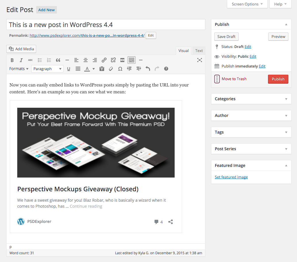 WordPress 4.4 Einbettungen