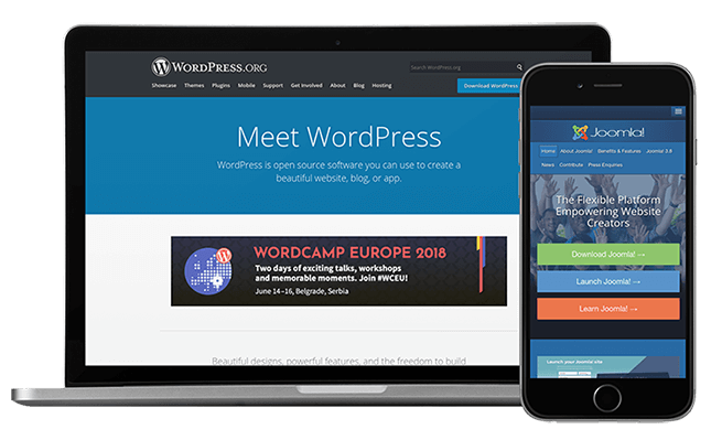 cms-alustat wordpress joomla