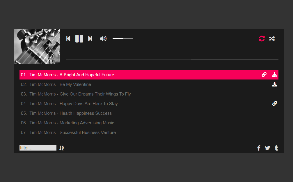 Modernes Audio-Player WordPress-Musik-Plugin
