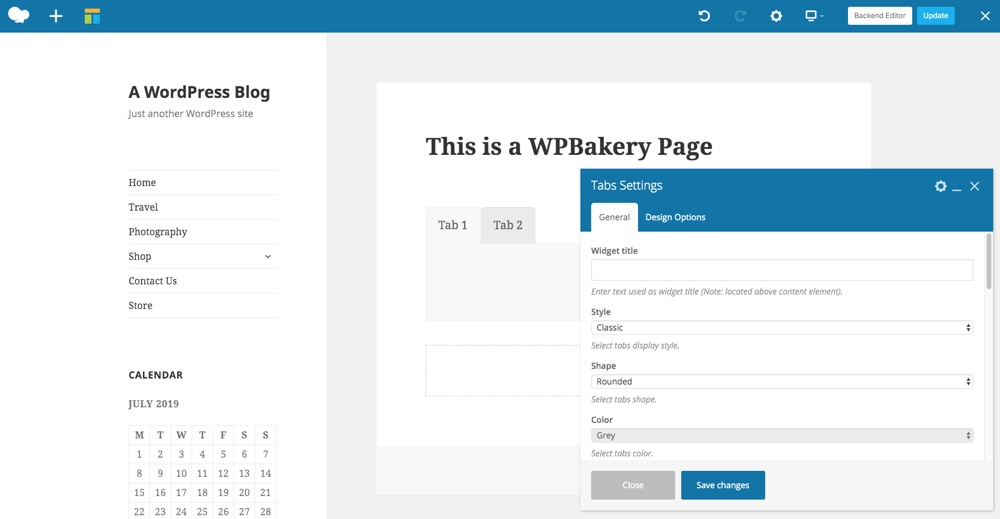 Раздели на WPBakery Page Builder