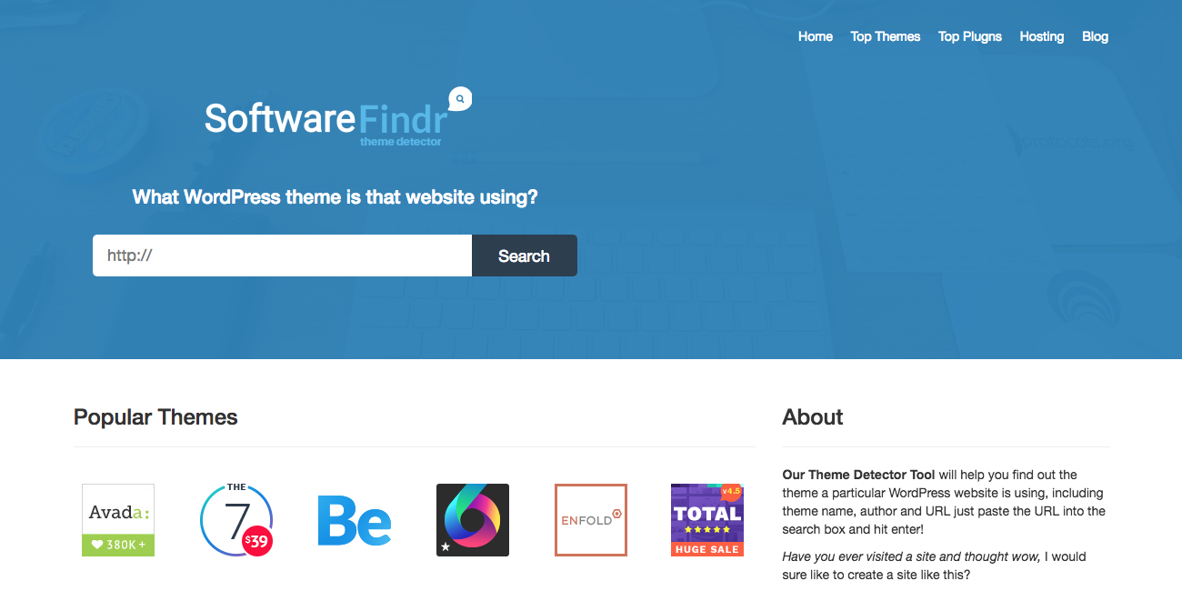 SoftwareFindr Theme Detector-tool