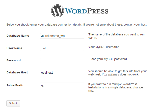 Configura WordPress 2 Pas
