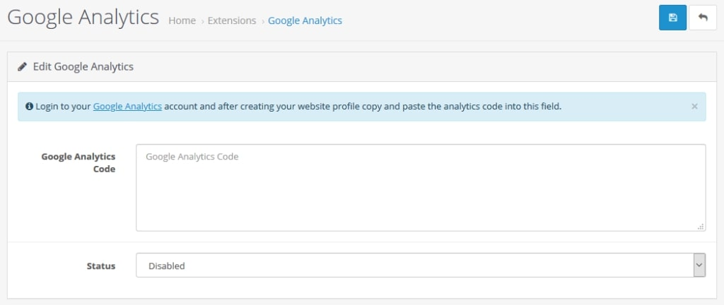 module google analytics opencart