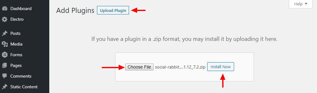 Hochladen des Social Rabbit WordPress Plugins
