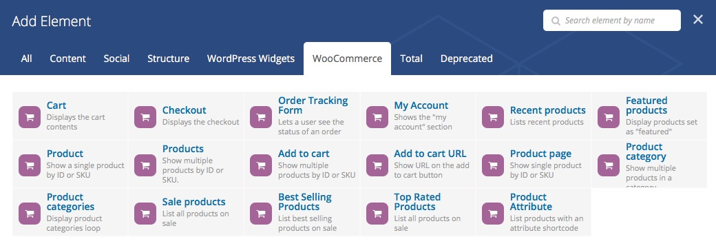 Elements de WooCommerce per a Visual Composer